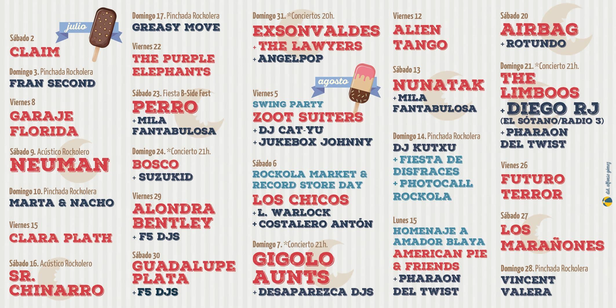 Rockola Summer Club La Azohía: Programación 2016