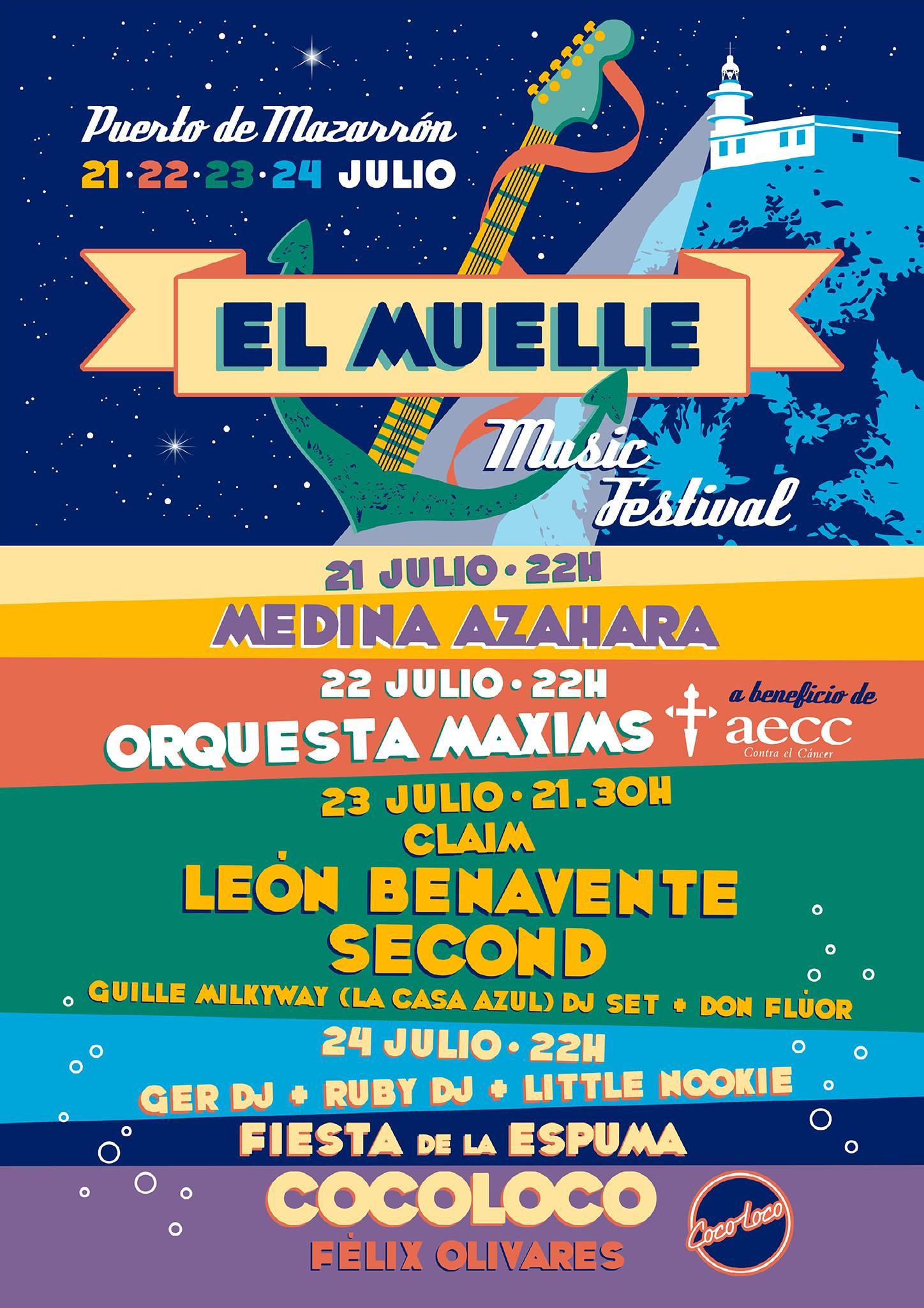 El Muelle Music Festival trae a Second, León Benavente, Claim y Medina Azahara en Puerto de Mazarrón
