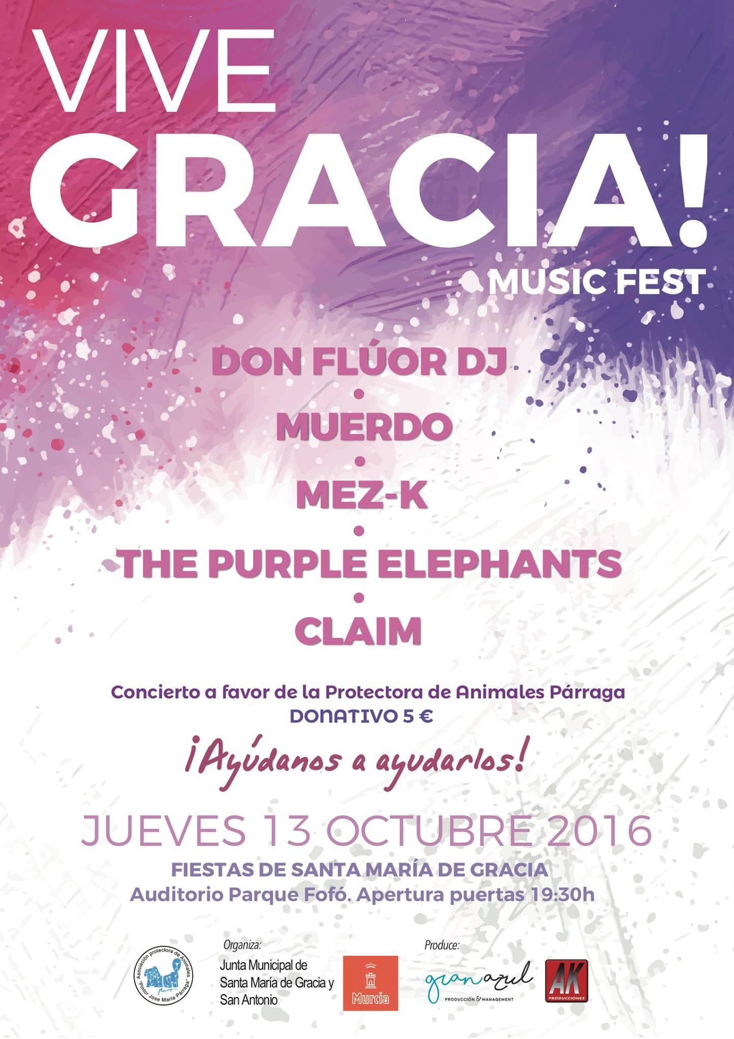 VIVE GRACIA! Music Fest, música solidaria con Muerdo, Claim, Mez-K, The Purple Elephants y Don Flúor