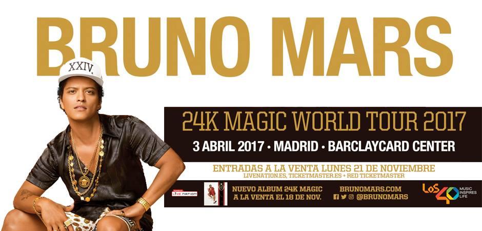 Bruno Mars pasará por Madrid y Barcelona en su 24K Magic World Tour 2017