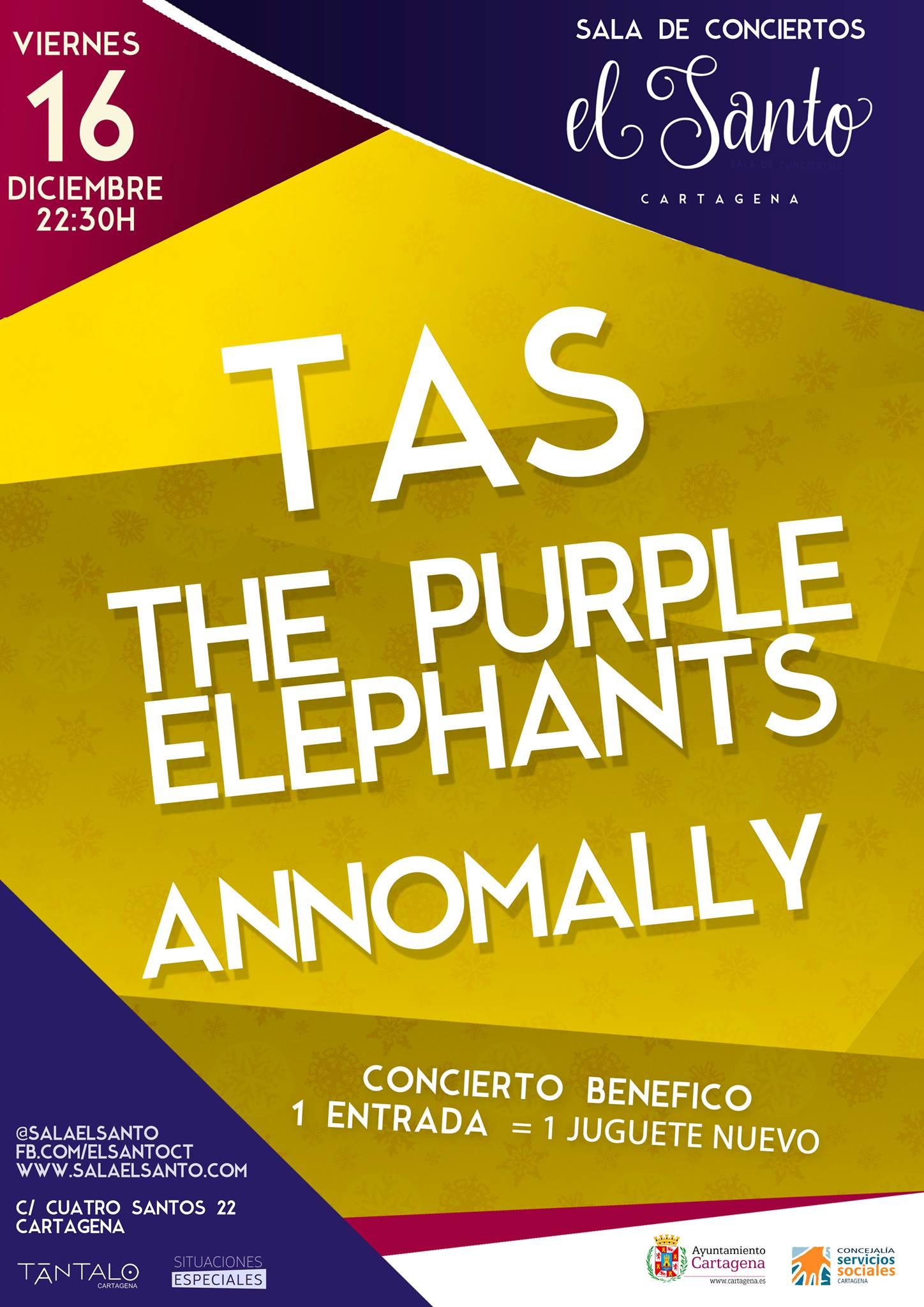 Concierto benéfico en Sala El Santo con T.A.S., Annomally y The Purple Elephants