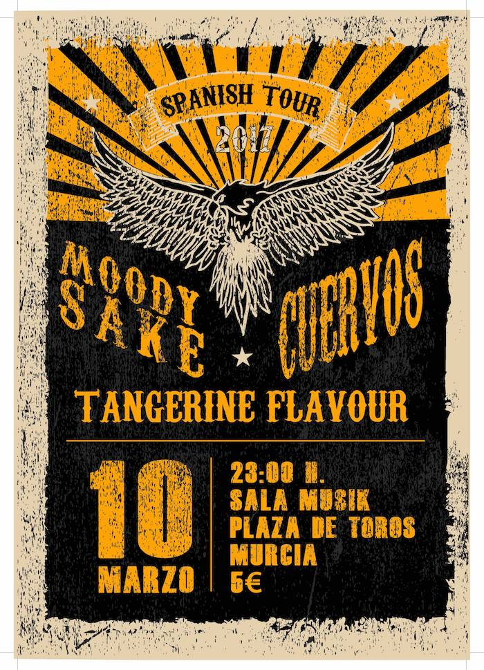 Moody Sake + Cuervos + Tangerine Flavour en concierto en Musik