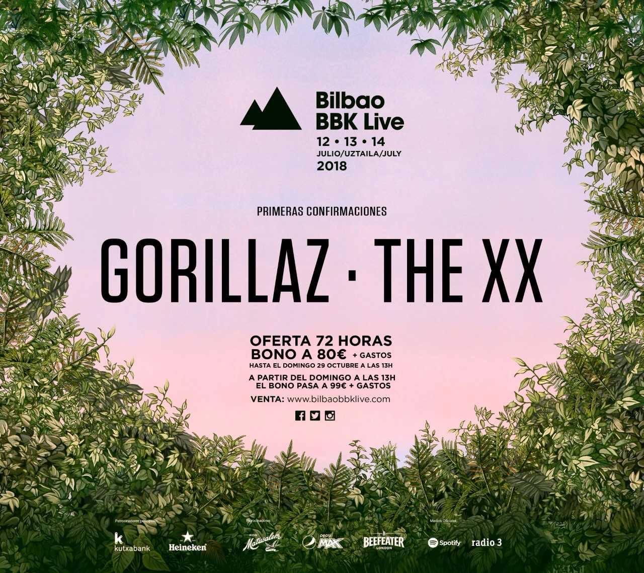 Gorillaz y The XX estarán en el BBK Live 2018