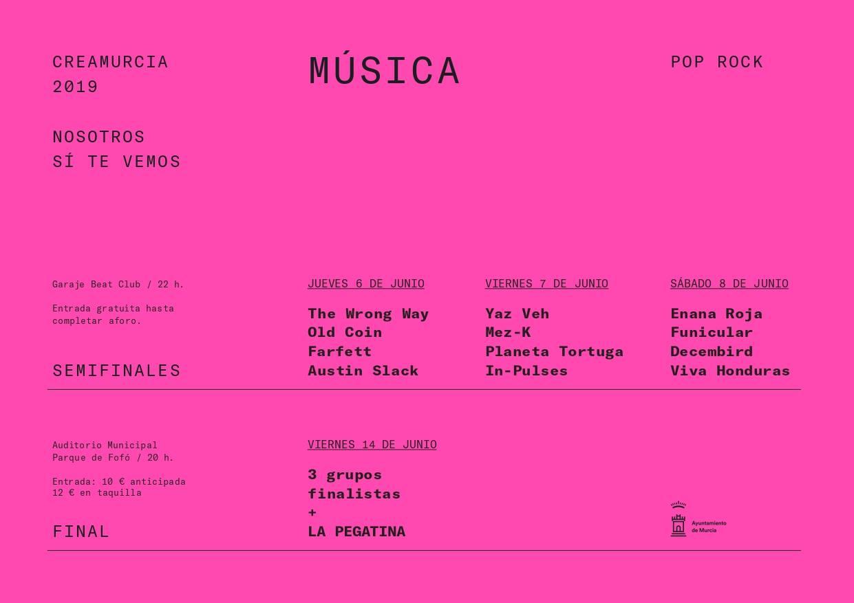 Semifinales del CreaMurcia Pop Rock 2019