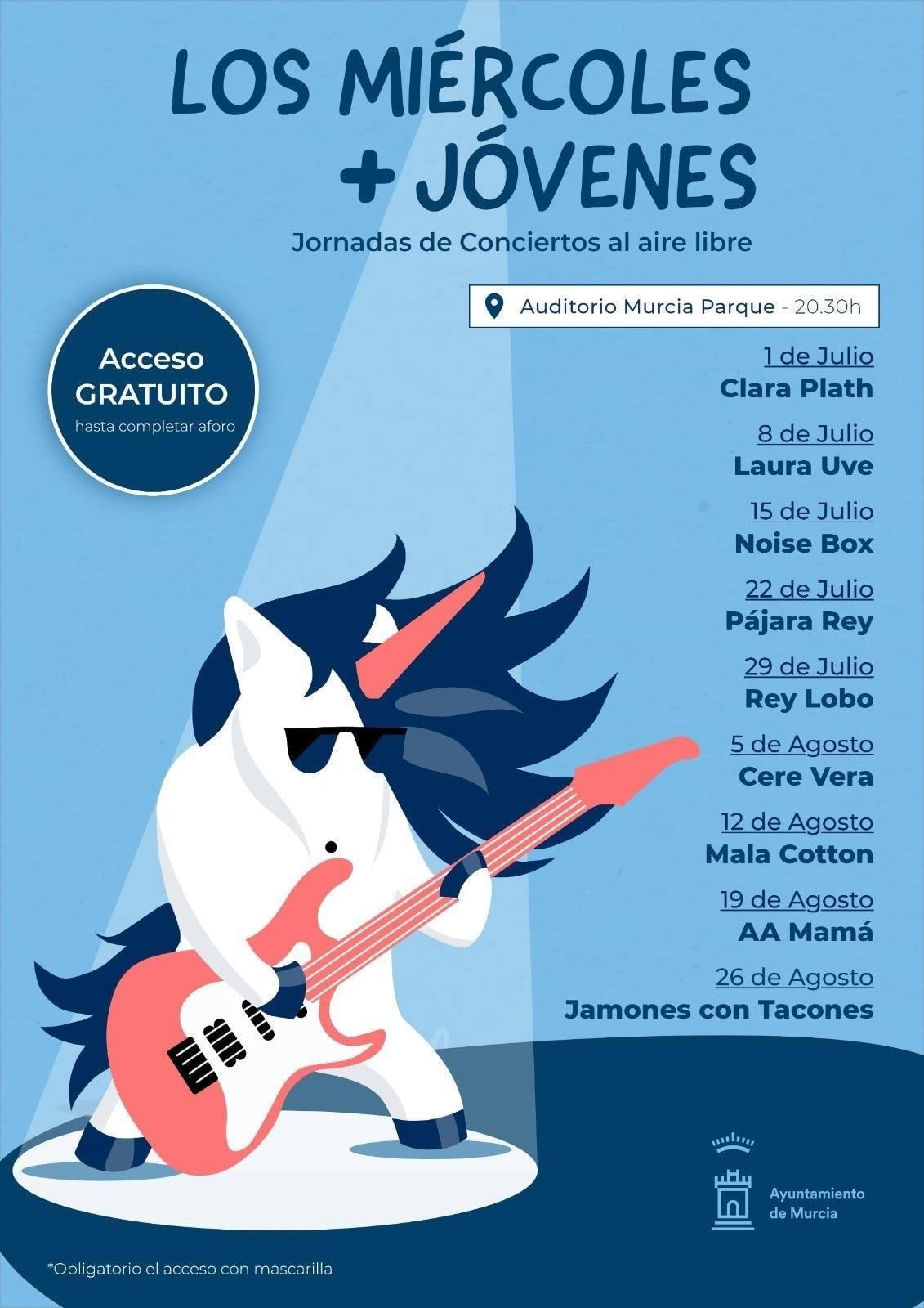 Vuelven 'Los Miércoles Más Jóvenes', conciertos gratuitos y al aire libre en Murcia